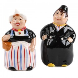 SALT-AND-PEPPER SET CHUBBY MAN AND WIFE COLOR