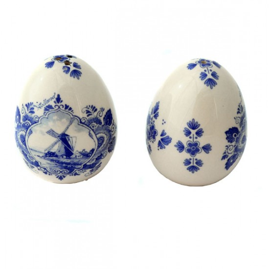 SALT AND PEPPER SHAKER EGGS WINDMILL DELFT BLUE FLOWER