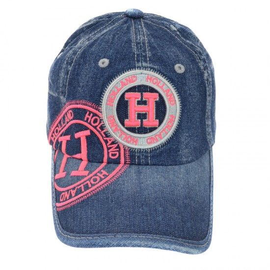 Holland baseball cap denim embroidery pink badge
