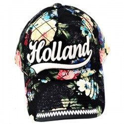 BASEBALL CAP BLACK FLOWERS HOLLAND ROBIN RUTH