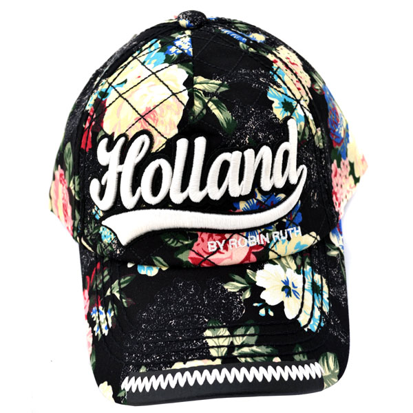 d680e33b BASEBALL CAP BLACK FLOWERS HOLLAND ROBIN RUTH - Hats and baseball ...