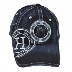 HOLLAND BASEBALL CAP BLACK DENIM SILVER GREY