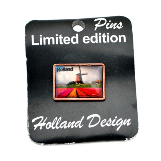 PIN BROOCH HOLLAD TULIP FIELD WINDMILL