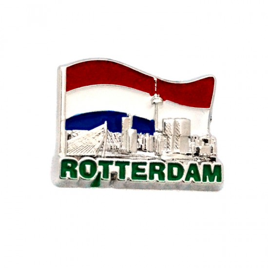 PIN BROOCH ROTTERDAM SKYLINE FLAG CHROMED