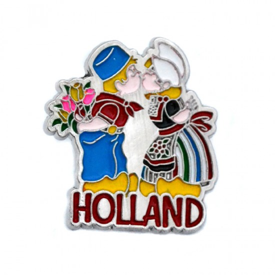 PIN BROOCH HOLLAND KISSING COUPLE COLOR