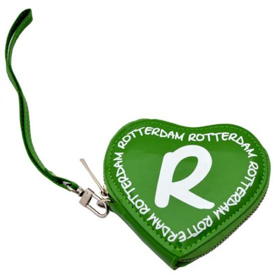 WALLET ROTTERDAM HEART GREEN WHITE SHINY
