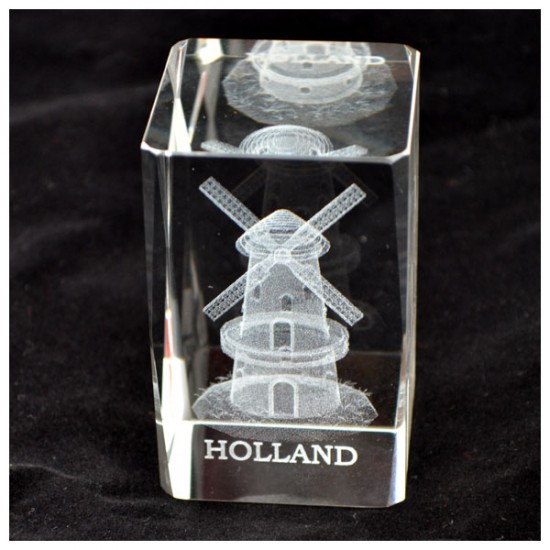 PRESSE PAPIER GLAS LASER MOLEN HOLLAND