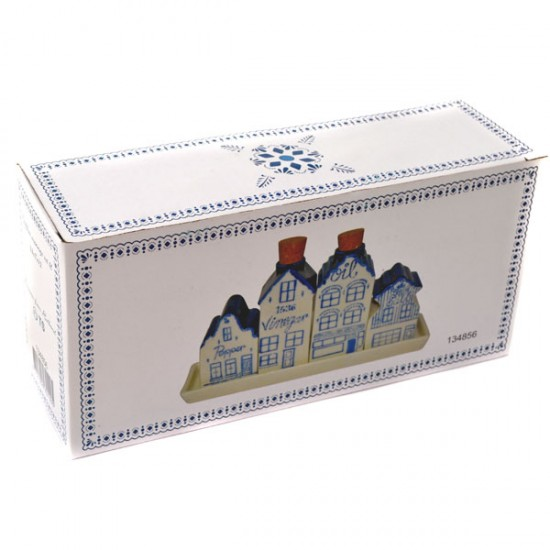 SALT PEPPER OIL VINEGAR SET CANAL HOUSES DELFT BLUE