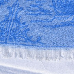 LADIES SHAWL JACQUARD DELFT BLUE TILES