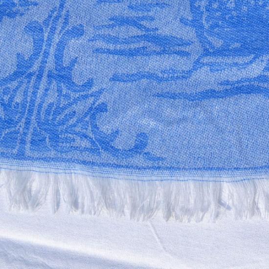 LADIES SHAWL JACQUARD DELFT BLUE TILES