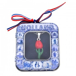 NECKLACE RED TULIP IN DELFT BLUE TIN