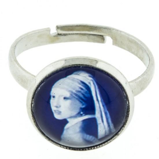 Ring delfts blauw steen meisje met de parel vermeer klein