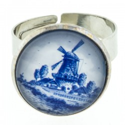 RING DELFT BLUE STONE WINDMILL LARGE
