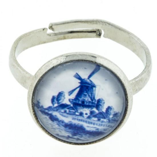 Ring delfts blauw steen molen klein