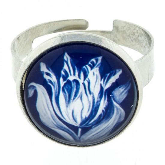 RING DELFT BLUE STONE TULIP LARGE