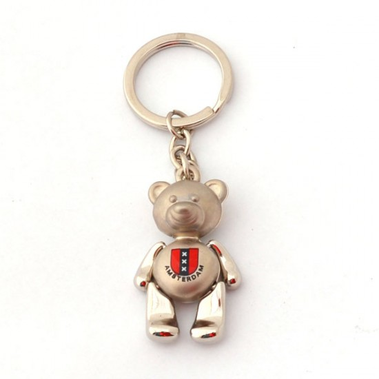 KEYCHAIN AMSTERDAM CROSSES CHROME KUDDLE BEAR