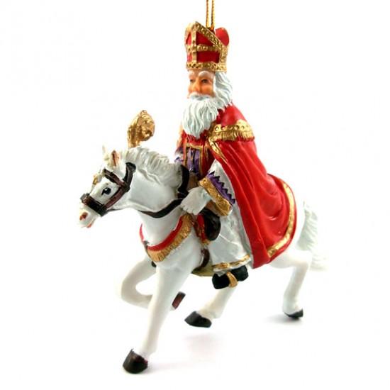 Heiligen nikolaus zu pferd polystone hängende skulptur 11 x 10 cm