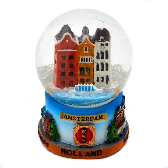 SNOW GLOBE AMSTERDAM HOLLAND CANAL HOUSES COLOR