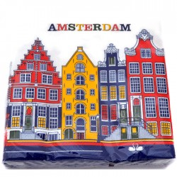 NAPKINS AMSTERDAM CANAL HOUSES COLOR
