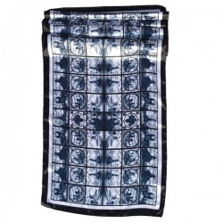 ARTIFICIAL SILK SHAWL ANTHRACITE  DELFT BLUE TILE PRINT