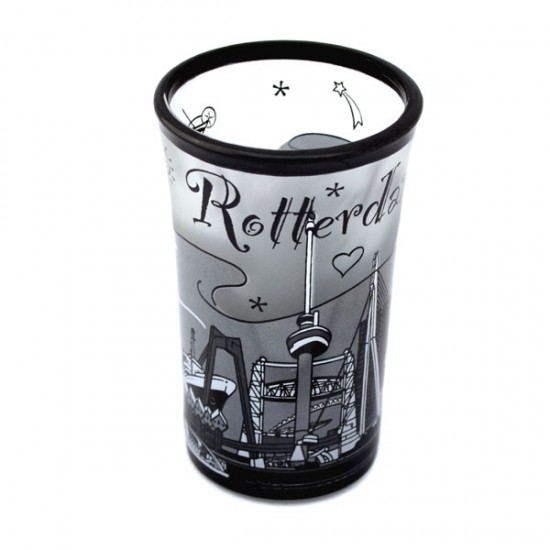SHOT GLASS ROTTERDAM SKYLINE BLACK