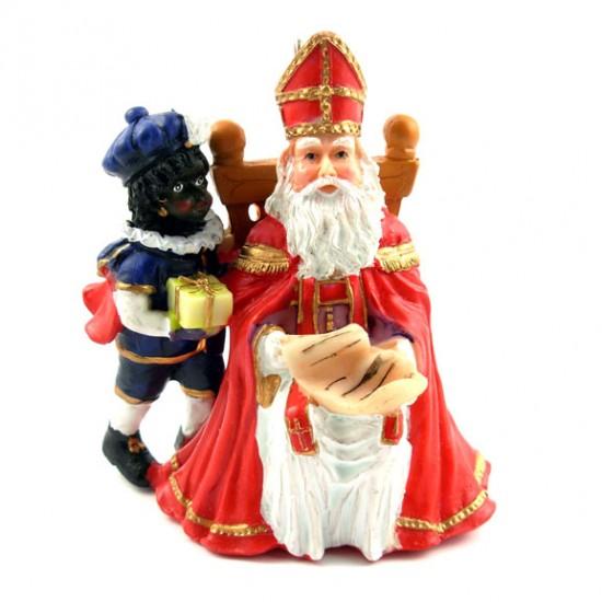 Heiligen nikolaus mit knecht polystone statue 7 x 8 cm