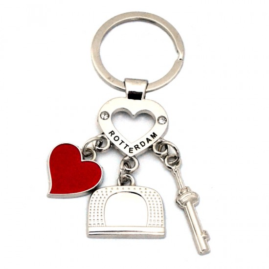KEYCHAIN ROTTERDAM CHARMS RED HEART RHINESTONE CHROME