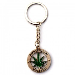 KEY RING AMSTERDAM HOLLAND CANNABIS WEED
