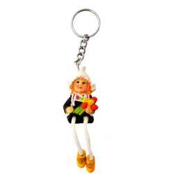 KEYCHAIN PEASANT WOMAN TULIPS COLOR
