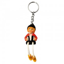 KEYCHAIN PEASAN PLAYING ACCORDION COLOR