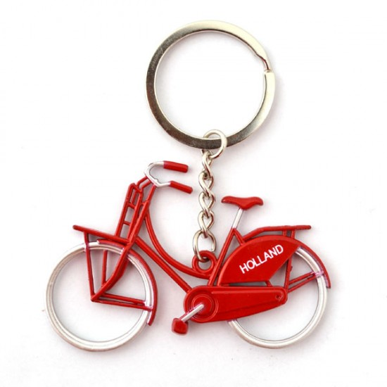 KEYCHAIN  METALLIC RED BICYCLE HOLLAND