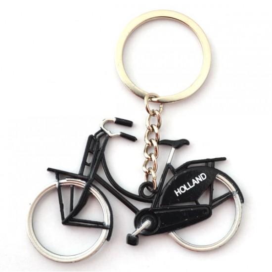 Sleutelhanger oma fiets metallic zwart holland