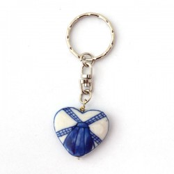 KEYCHAIN DELFT BLUE BEAD HEART WINDMILL