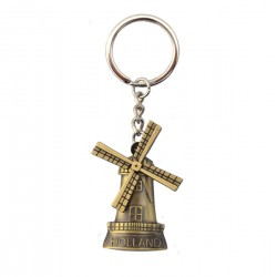 KEY RING HOLLAND WINDMILL ROTATING BLADES BRONZE