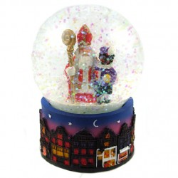 WATER GLOBE SAINT NICHOLAS and BLACK PETE 6.5 x 9 CM
