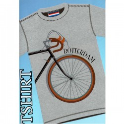 T-SHIRT ROTTERDAM RETRO BICYCLE GRAY