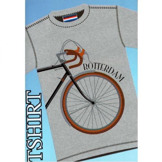 T-shirt rotterdam retro bicycle gray