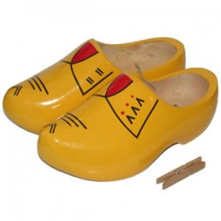 HOLLAND FARMERS CLOGS YELLOW RED 24 - 26.5 CM