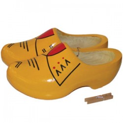 DUTCH FARMERS CLOGS YELLOW RED 27 - 30.5 CM