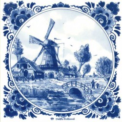 DELFT BLUE TILE RANCH WINDMILL BRIDGE