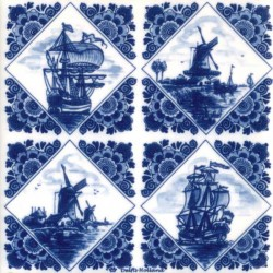 DELFT BLUE TILE RHOMB WINDMILLS VESSELS