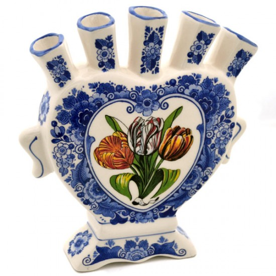 TULIP VASE DELFT BLUE FLOWER COLORED TULIPS
