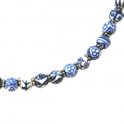 NECKLACE DELFT BLUE BEADS HANDMADE