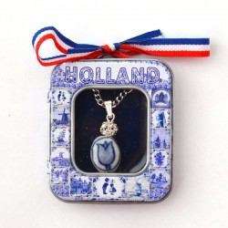 NECKLACE DELFT BLUE TULIP RHINESTONES IN SOUVENIR TIN