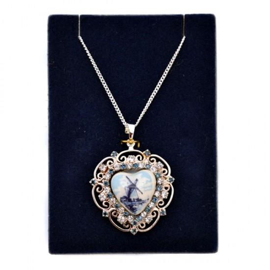Necklace silver plated heart rhinestone border delft windmill