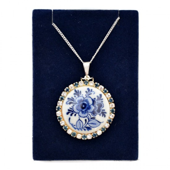NECKLACE SILVER PLATED DROP RHINESTONE DELFT FLOWER ROUND