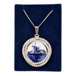 NECKLACE SILVER PLATED SLING RHINESTONE BORDER DELFT WINDMILL