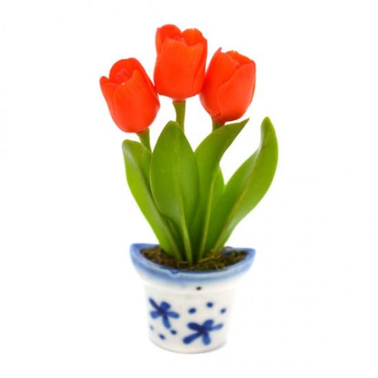 Magnet pot delft blue flexi tulpjes orange