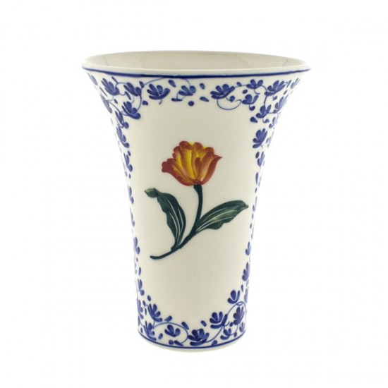 Vase polychrome tulip green orange