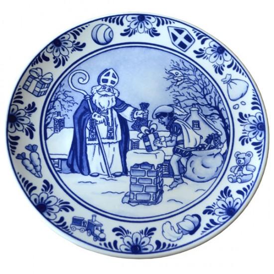 Delft blue plaque sinterklaas and pete delfino